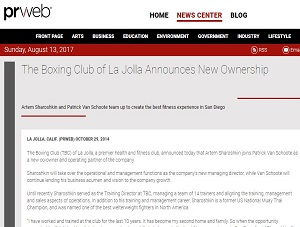 THE BOXING CLUB OF LA JOLLA ANNOUNCES NEW OWNERSHIP